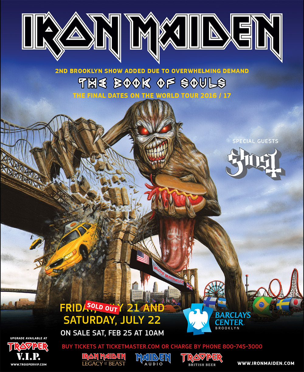 iron maiden announce the last show of their epic the book of souls tour adding a second night in. Black Bedroom Furniture Sets. Home Design Ideas